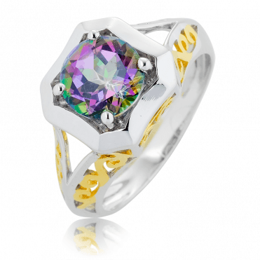 2¼ct Mystic Topaz in a Gold-kissed Ring