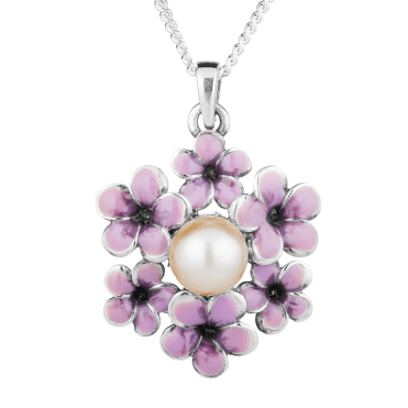 Pearl Pendant Garlanded with Enamelled Silver