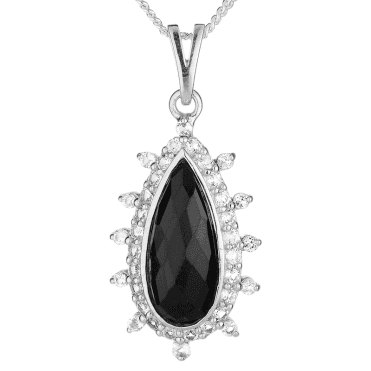 Portia Pendant Glinting with Faceted Jet & White Topaz