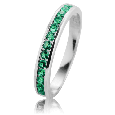 1ct of Channel-set Emeralds in a Silver Half Eternity Ring