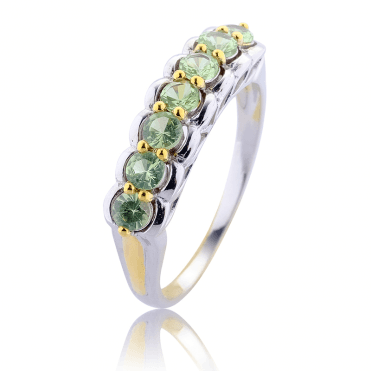 Tsavorite Ring Kissed with 18ct Gold