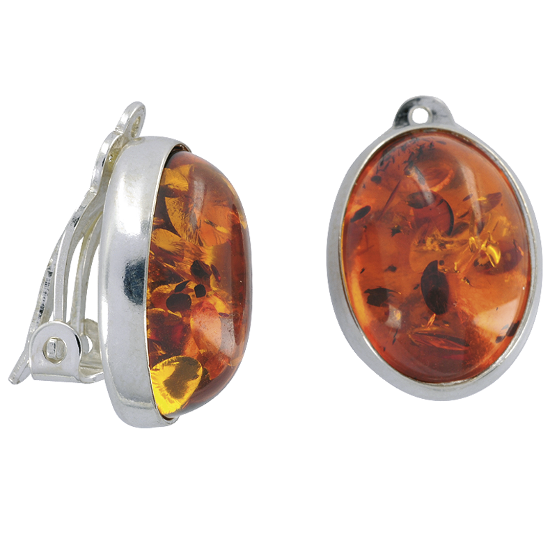 Clip Earrings With Exquisite Amber Gemstones