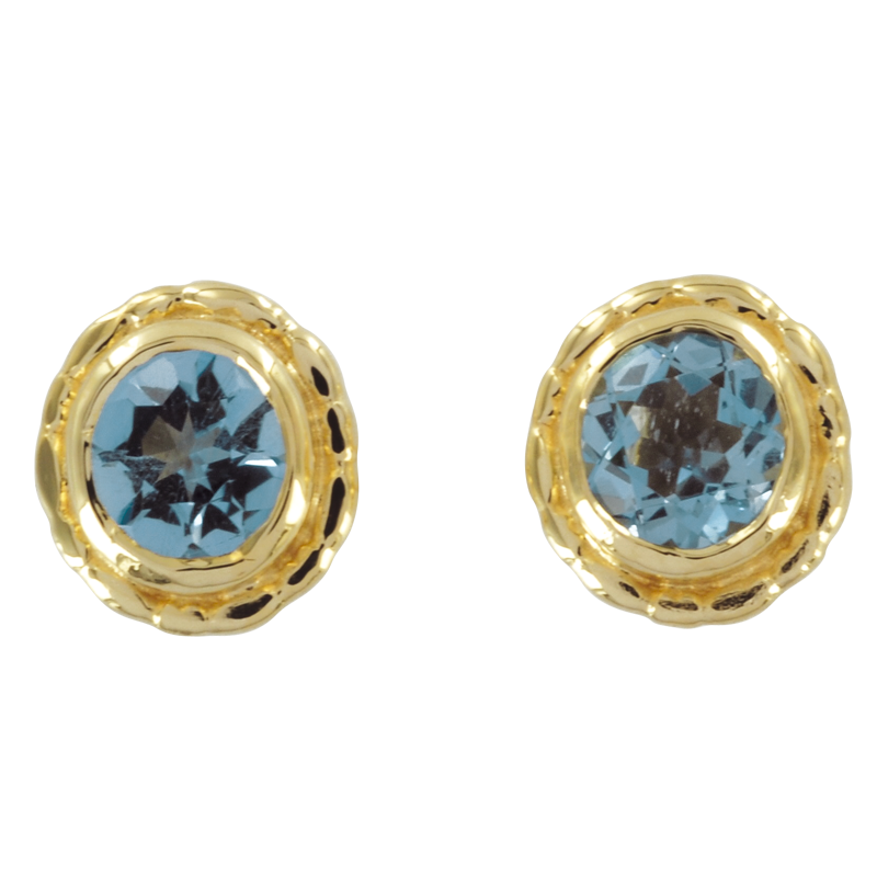 Las Shipton And Co Exclusive 9ct Yellow Gold Aquamarine Earrings Ey0205aq