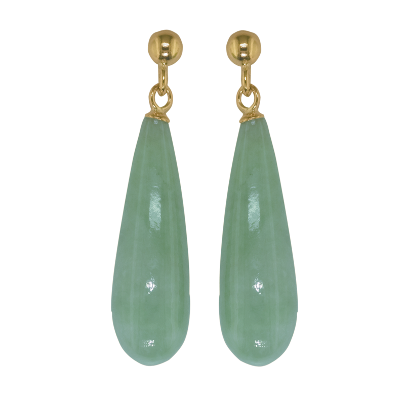 Las Shipton And Co 9ct Yellow Gold Green Jade Jadeite Earrings Ey1431gj