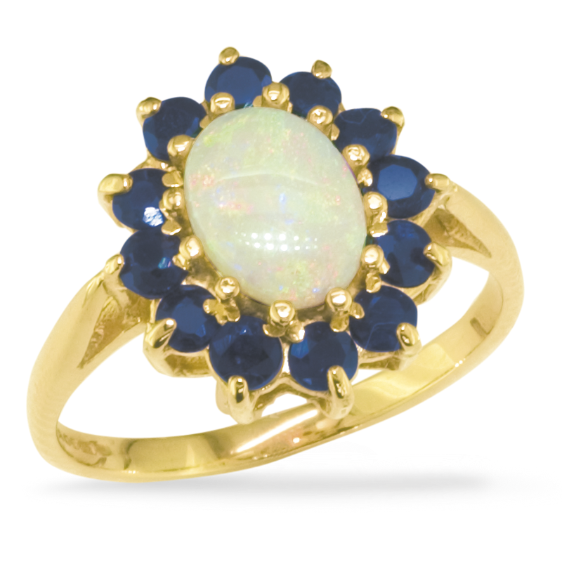 unique blue september sapphire october gold genuine opal media ring engagement halo