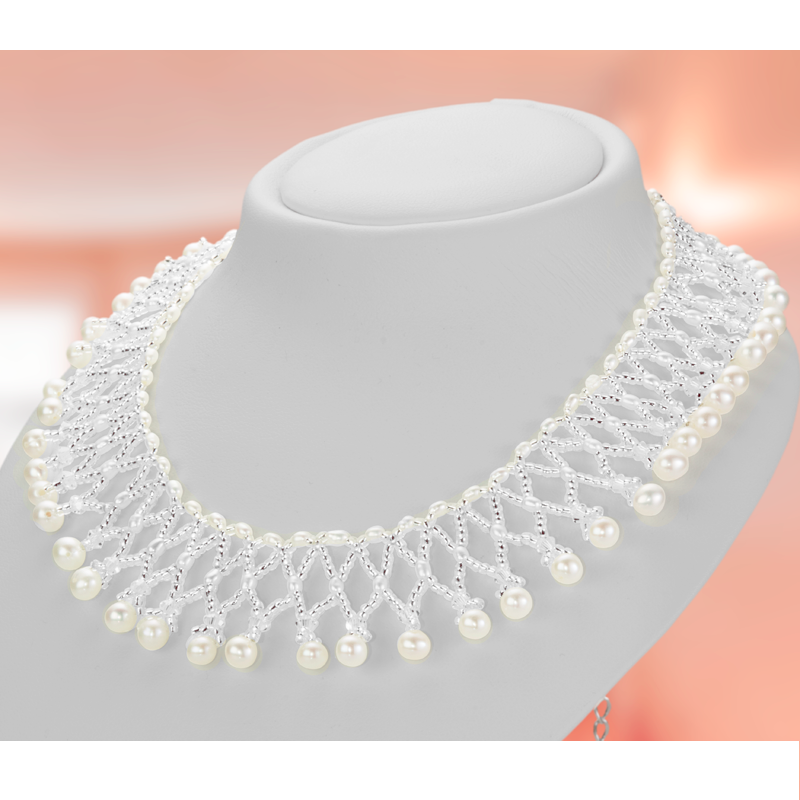 3fa10ee57d396 Ladies Shipton and Co Woven Freshwater Pearls and Silver Beads Collar  Necklace 17 Inches Long with a 2 Inch Extender Chain TEN021FP