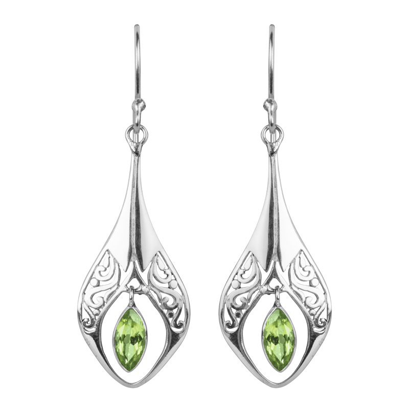 Las Shipton And Co Silver Marquise Cut Peridot Earrings Tss140pe