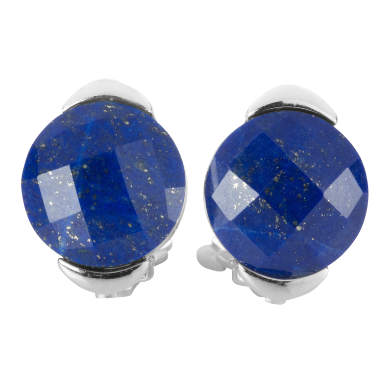 e4f17ae0f Ladies Shipton and Co Silver and 12mm Faceted Lapis Lazuli Clip Fitting  Earrings for Unpierced Ears TTL245LL - from Shipton and Co UK