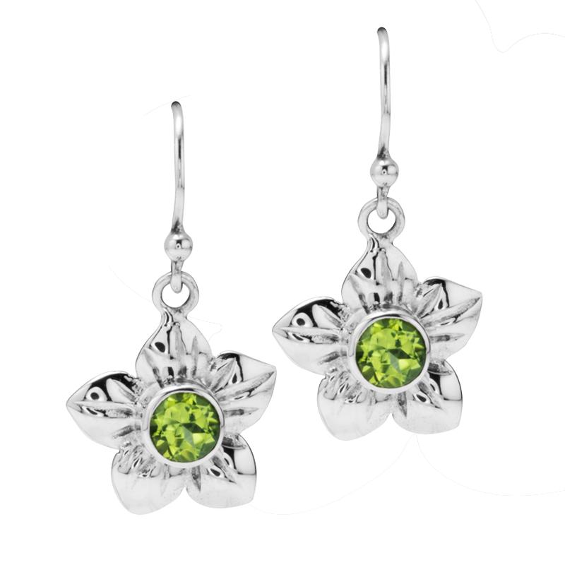 Las Shipton And Co Silver 5mm Round Peridot In Flower Design Drop Earrings Tpx025pe