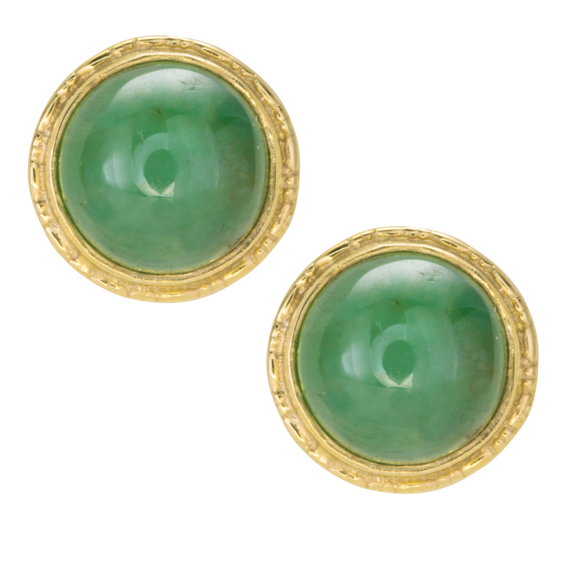 Las Shipton And Co 9ct Yellow Gold Green Jade Stud Earrings Ey0210gj
