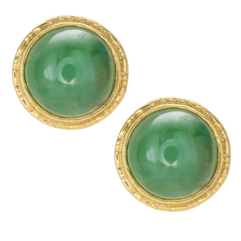 Las Shipton And Co 9ct Yellow Gold Green Jade Stud Earrings Ey0210gj
