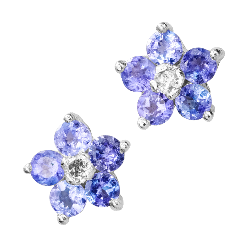 Las Shipton And Co Silver Tanzanite Flower Stud Earrings Tfe247tz