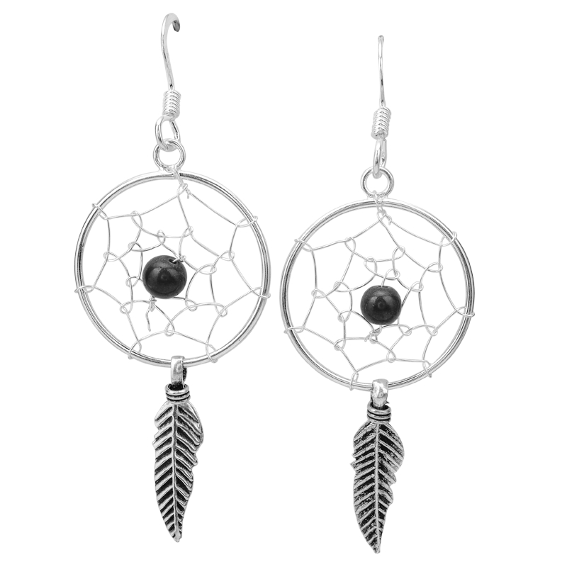 Las Shipton And Co Silver Onyx Dreamcatcher Earrings Tda211on