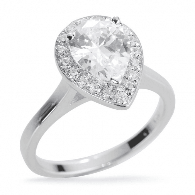Teardrop Solitaire with White Gold Plate Ring