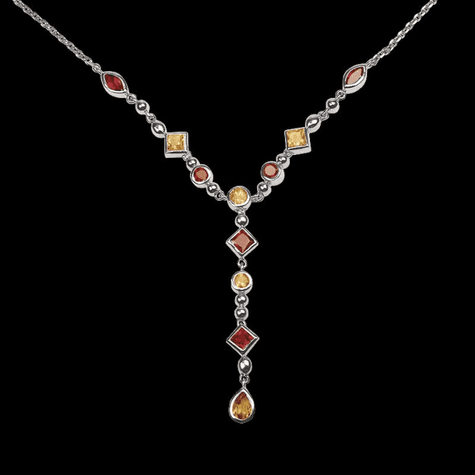 Ladies Shipton and Co Exclusive Silver and Multiple Stone Necklace NQA209MU2