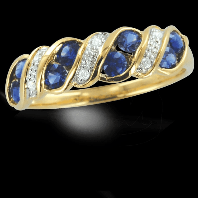 Ladies Shipton and Co Exclusive 9ct Yellow Gold Diamond and Blue Sapphire Wave Half Eternity Ring RYD090BSD
