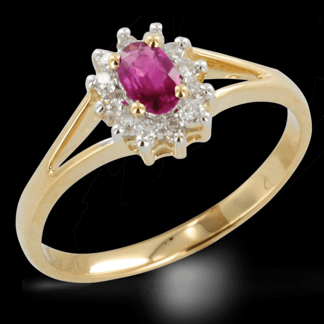 Ladies Shipton and Co Exclusive 9ct Yellow Gold Classic Split Shoulder Ruby and Diamond Ring RYD061RUD