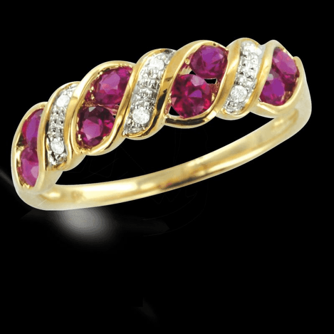 Ladies Shipton and Co Exclusive 9ct Yellow Gold Diamond and Ruby wave Half Eternity Ring RYD090RUD