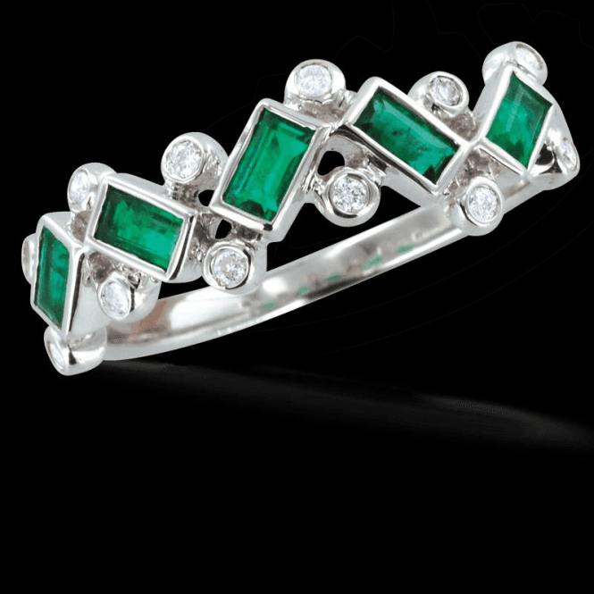 Ladies Shipton and Co Exclusive 9ct White Gold 8pt Diamond and 5 Bagette Cut Emeralds Rain Drop Ring RWD081EMD