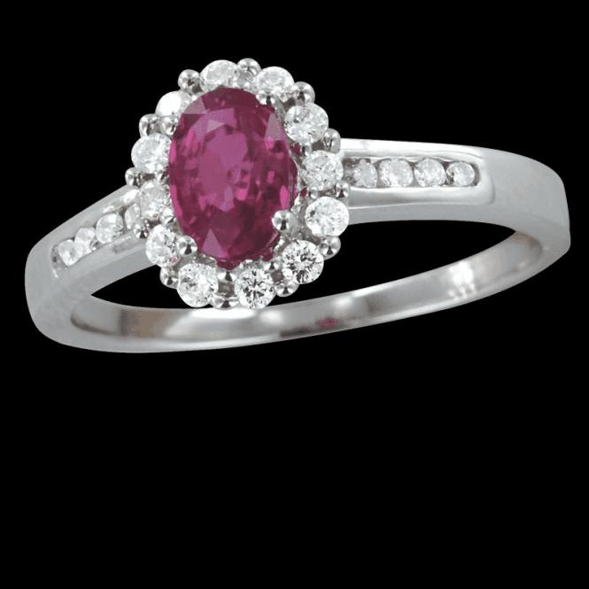 Ruby Ring Lit By Twenty Diamonds Totalling a Quarter of a Carat