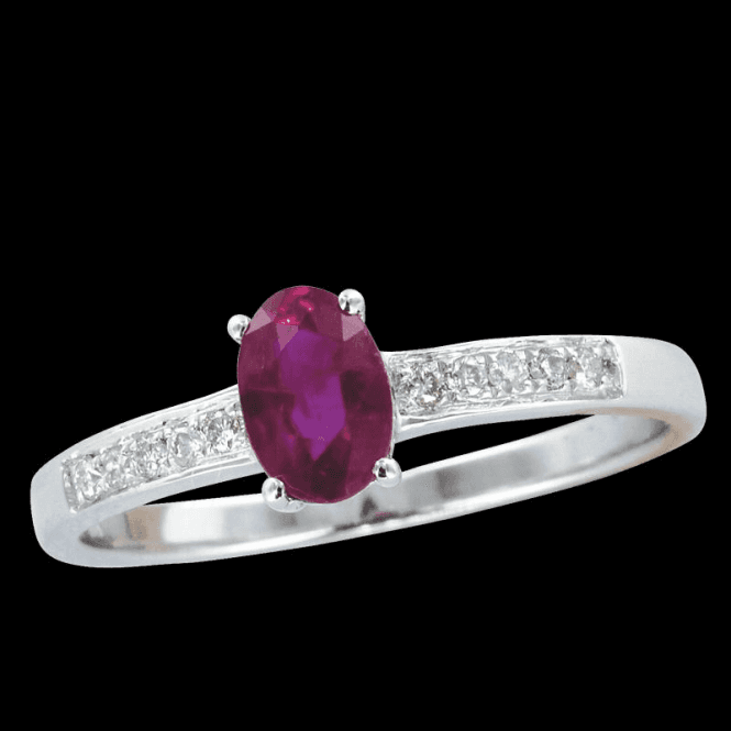 Ladies Shipton and Co Exclusive 9ct White Gold 8x4mm Oval Ruby Ring With Diamonds on the Shoulders RWD084RUD