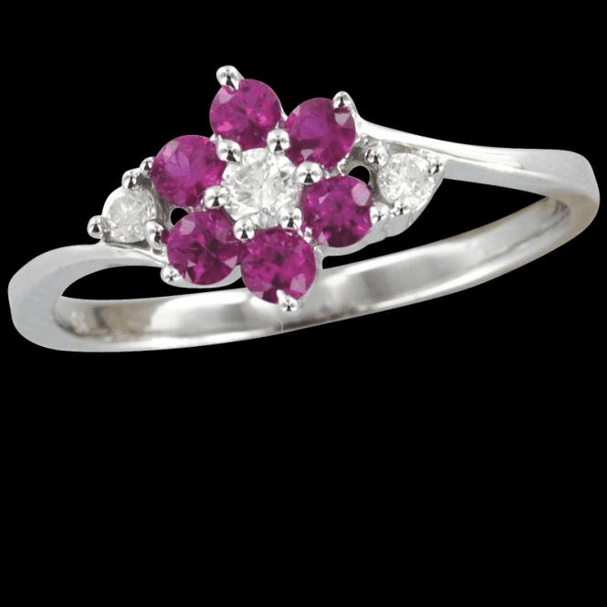 Ruby & Diamond Flower Duet Ring
