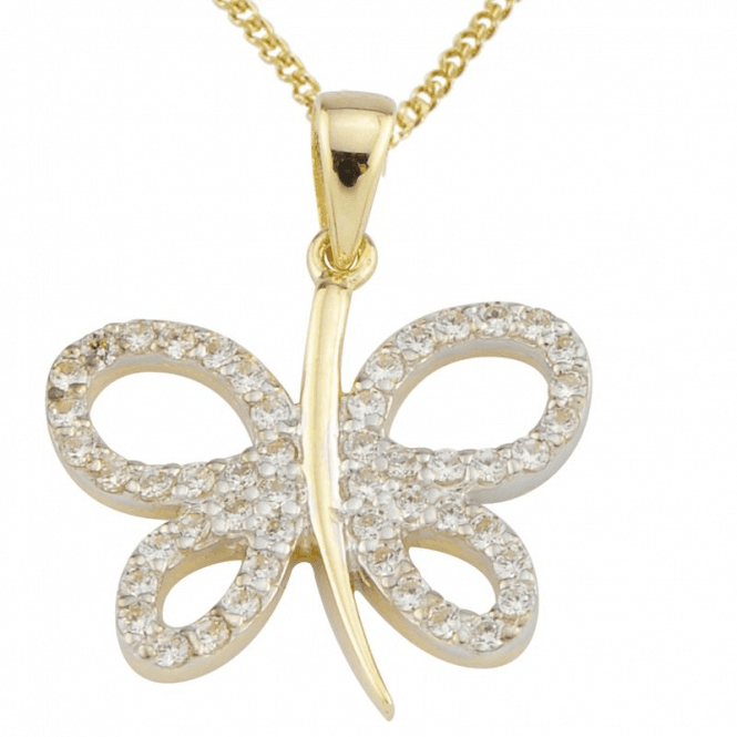 Ladies Shipton and Co Exclusive 9ct Yellow Gold and Cubic Zirconia Pendant including a 20 9ct Yellow Gold Chain TEM006CZ