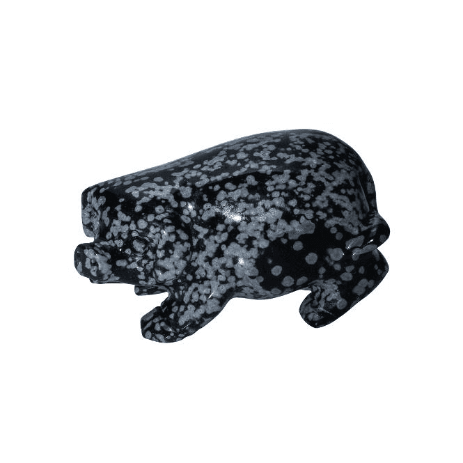 Ladies Shipton and Co 2 Obsidian Pig Carving CMH021OB