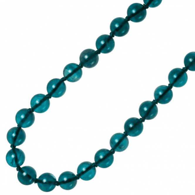 Ladies Shipton and Co Exclusive Silver and 10mm Petrol Blue Flourite Beads 28 Inches Long BSS083FL