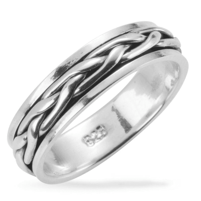 Ladies Shipton and Co Silver Celtic Plait Moving Centre Ring TDA029NS