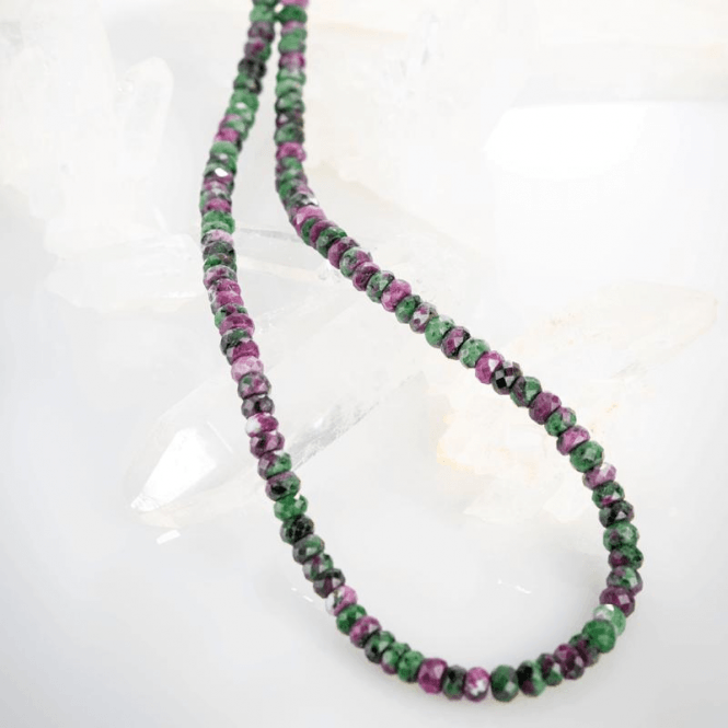 Ladies Shipton and Co Exclusive Silver and 8mm Ruby in Zoisite Faceted Disc Beads 28 Inches Long BSS078ZO
