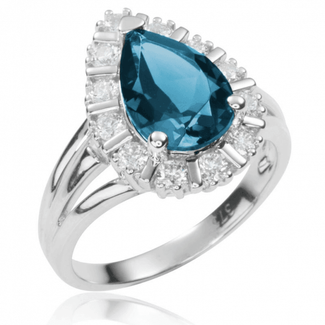 Ladies Shipton and Co 9ct White Gold and 12x8mm Pearshape London Blue and White Topaz Cluster Ring RWG047BTWT