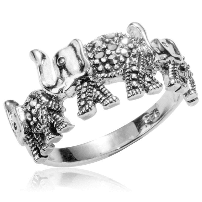 Shipton and Co Ladies Shipton and Co  Silver Three Elephants Marcasite Ring TFE025MM