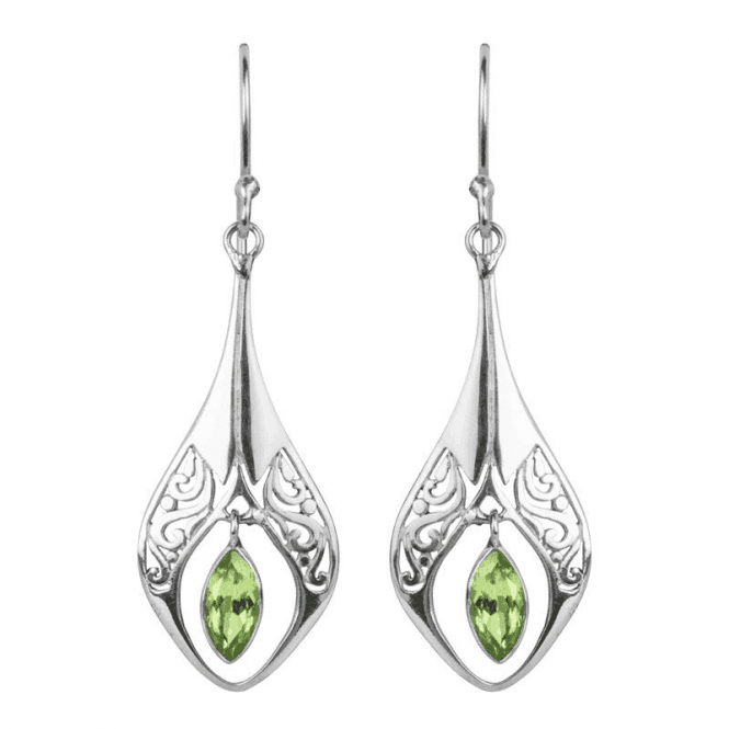 Ladies Shipton and Co Silver and Marquise Cut Peridot Earrings TSS140PE