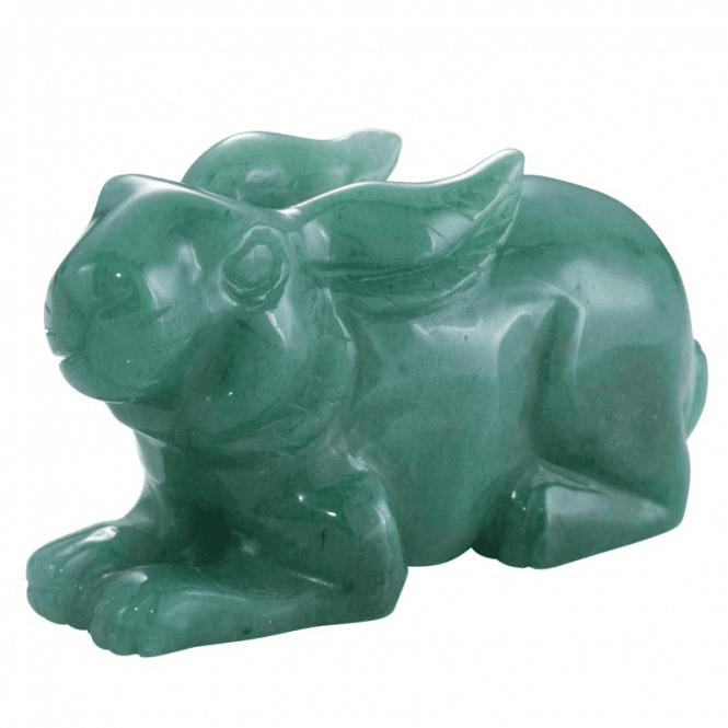 Shipton and Co Four Inch Aventurine Rabbit Carving CMH017AV