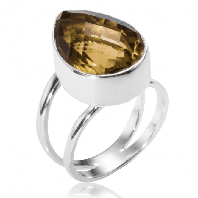 Ladies Shipton and Co Silver and Large Pearshaped Whisky Quartz Ring TJP014CI