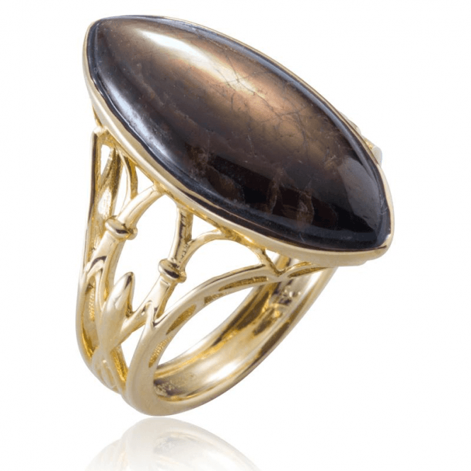 Ladies Shipton and Co Exclusive 9ct Yellow Gold and 24x10mm Marquise Faceted Golden Sheen Sapphire Ring RYG048FS