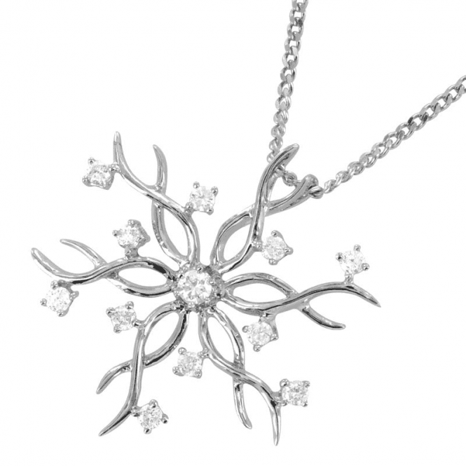 A Quarter Carat of Fine Diamonds in 9ct White Gold Tracery Snowflake