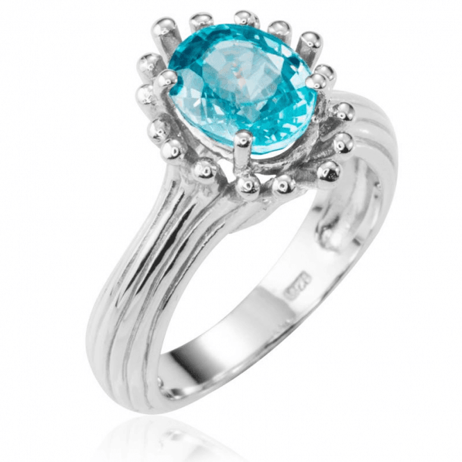 Ladies Shipton and Co Silver Natural Blue Zircon Dew Drop Design Ring RQA403BZ