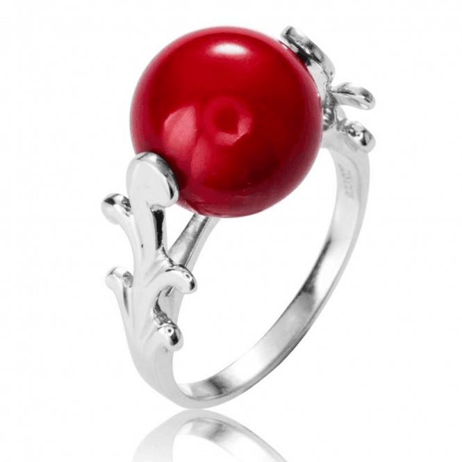 Ladies Shipton and Co Silver and Coral Spinning Sphere Ring TKW527CL