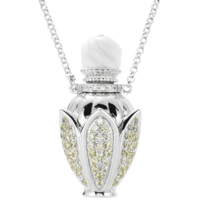 Ladies Shipton and Co Silver and Cubic Zirconia Snowdrop Perfume Necklace TFE153CZAG