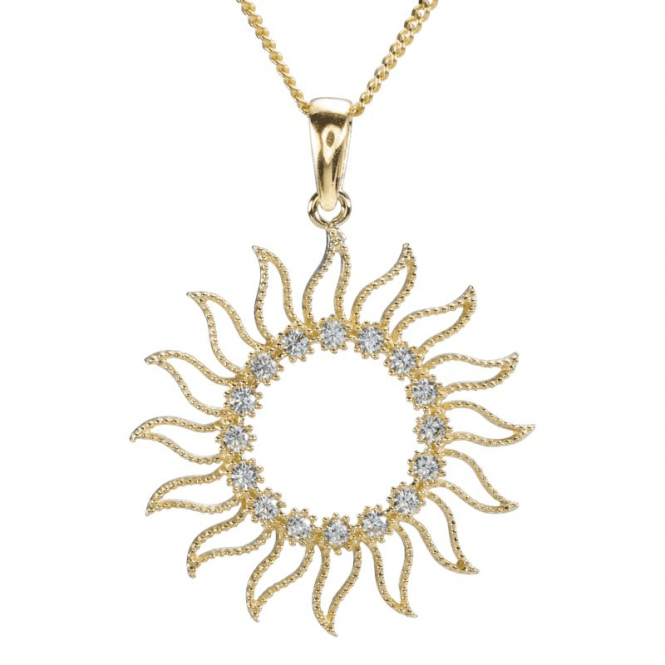 Ladies Shipton and Co 9ct Yellow Gold and Cubic Zirconia Sunny Pendant including a 16 9ct Chain TEM072CZ