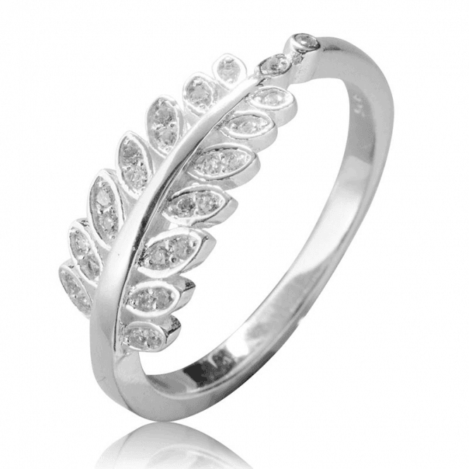 Ladies Shipton and Co Silver and Cubic Zirconia Leaf Ring TFE207CZ