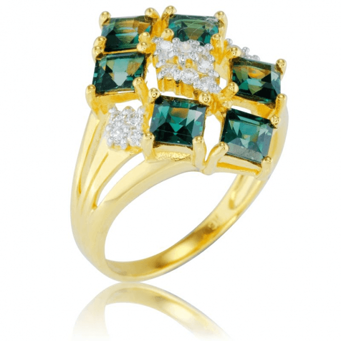 Steps of Green Tourmaline & Diamond in 9ct Gold