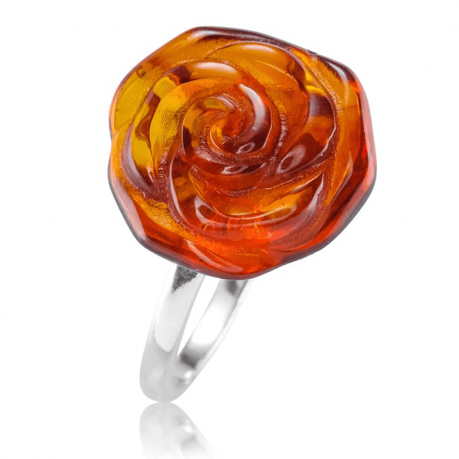 Ladies Shipton and Co Silver and Amber Ring TFE278AB