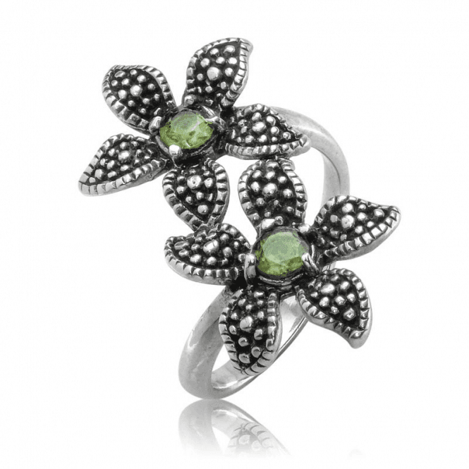 Ladies Shipton and Co Silver and Peridot Ring TFE286PE