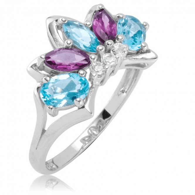 Ladies Shipton and Co Silver and Blue Topaz Ring RQA623BTRH