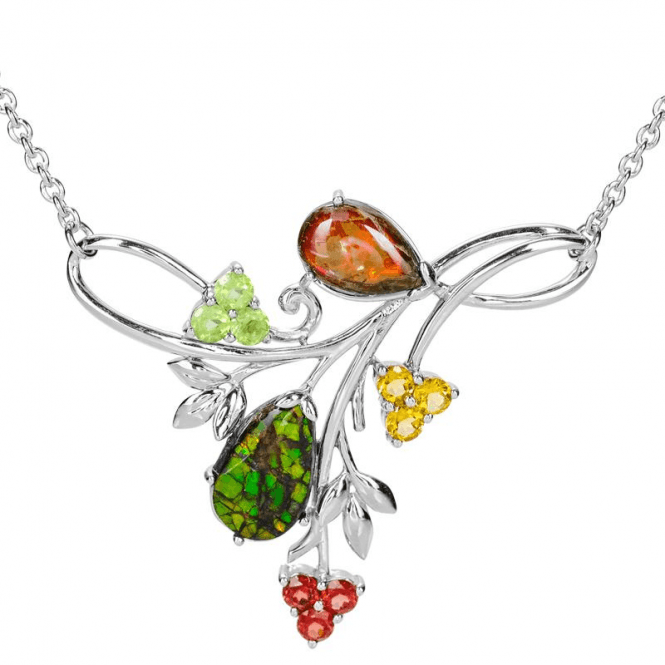 Ladies Shipton and Co Silver and 7.2ct Ammolite Necklace NQA643AFMU