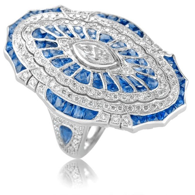 Sapphire & Diamond 1925 Deco Ring