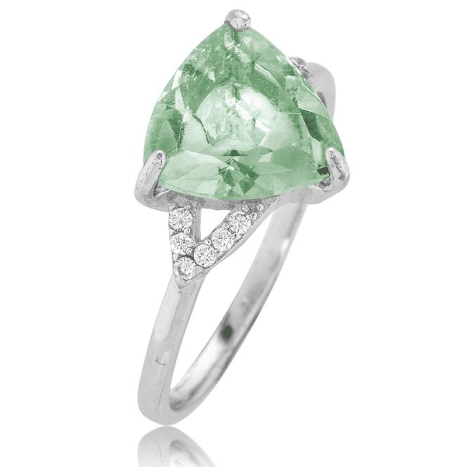 Trillion Cut 1½ct Green Amethyst Dream Ring